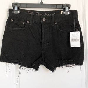 Free People Button Denim Jeans Shorts Distressed